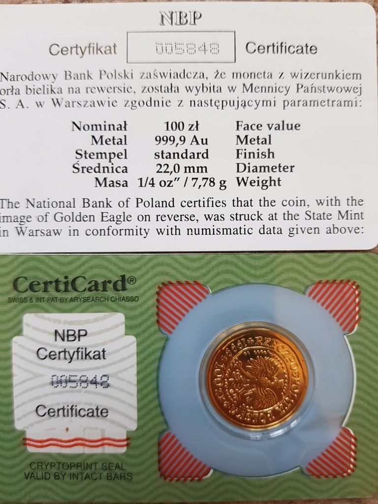 ZŁOTO 100zł ORZEŁ BIELIK 2004 1/4 Oz 999,9 7,78gr
