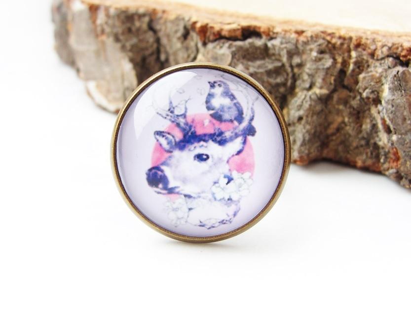 Duży pierścionek z kaboszonem - Jelonek