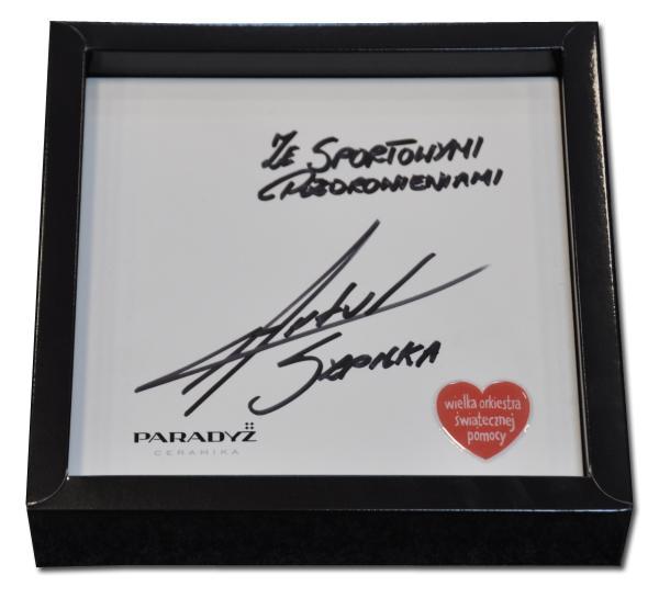 Artur Szplika- płytka ceramiczna WOŚP z autografem