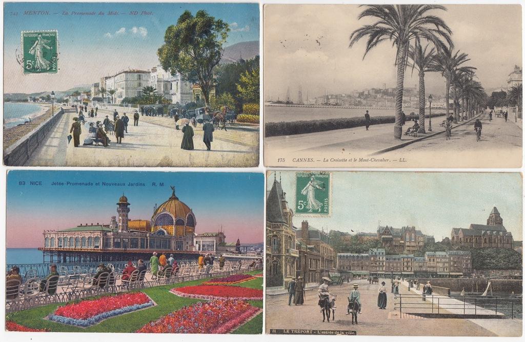 Stare pocztówki PROMENADA (4 szt.) 4N70