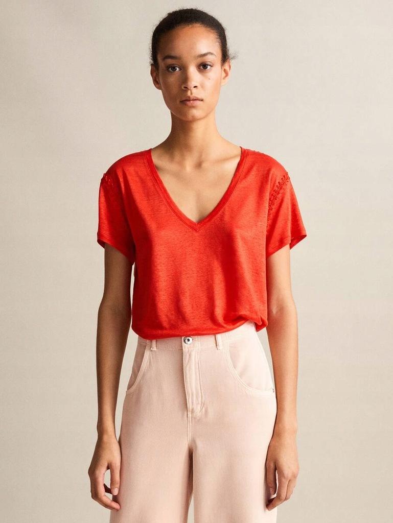 MASSIMO DUTTI lniany t-shirt czerwony M