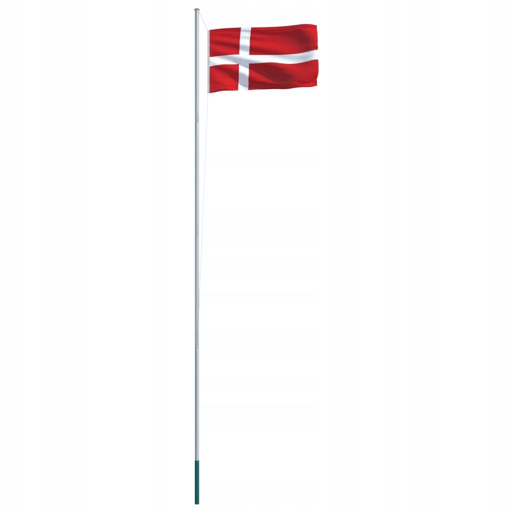 Flaga Danii VidaXL z aluminiowym masztem 6,2 m