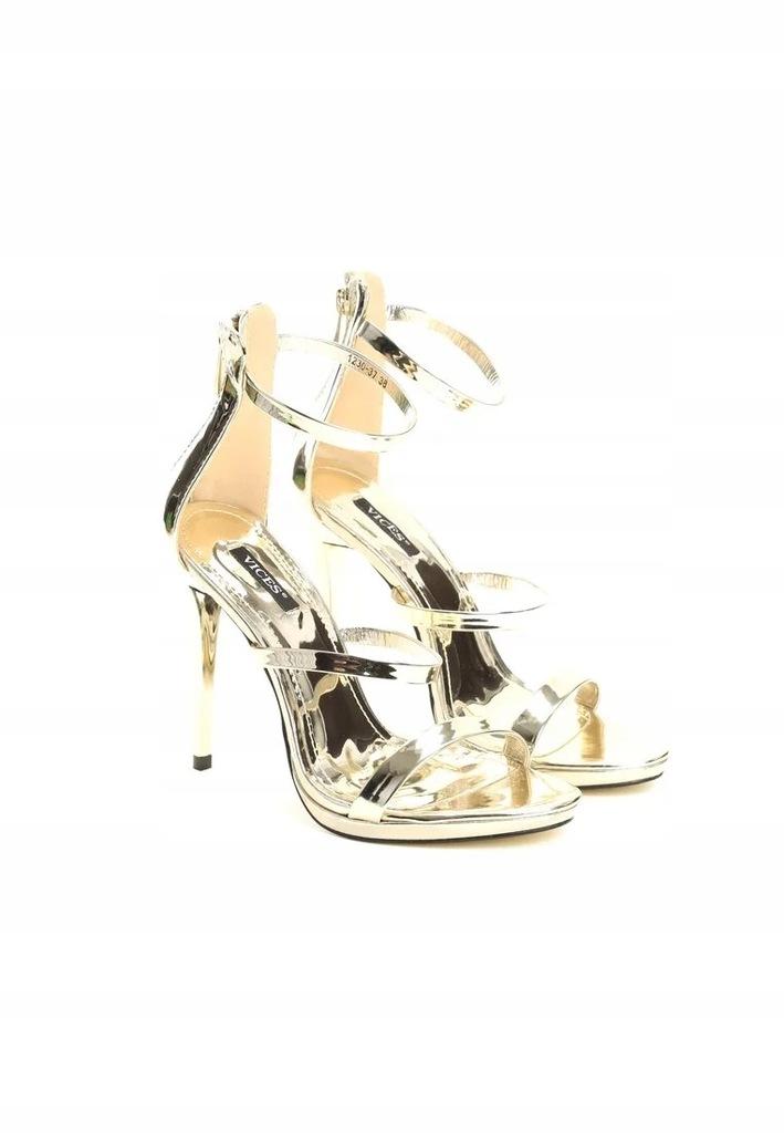 Sandały szpilki czółenka złote lustrzane vices r37