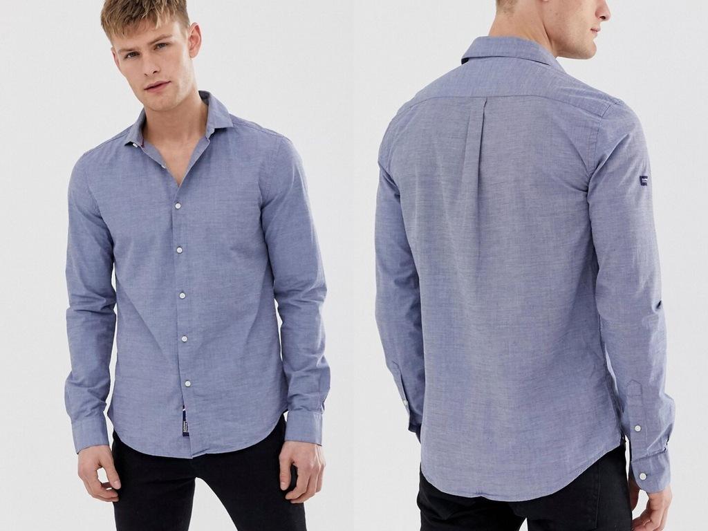Superdry -niebieska dopasowana koszula slim XL