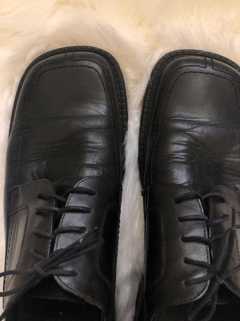 Czarne męskie buty eleganckie do garnituru 44