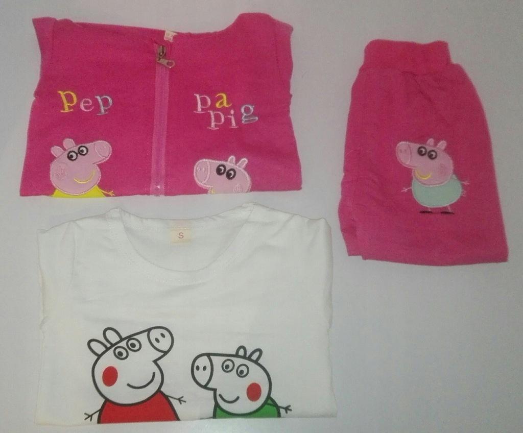 Nowy komplet dres 3 cz. różowy peppa 98 (L)