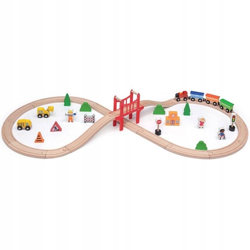 Viga Toys Drewniana Kolejka 39 elementów Pociąg
