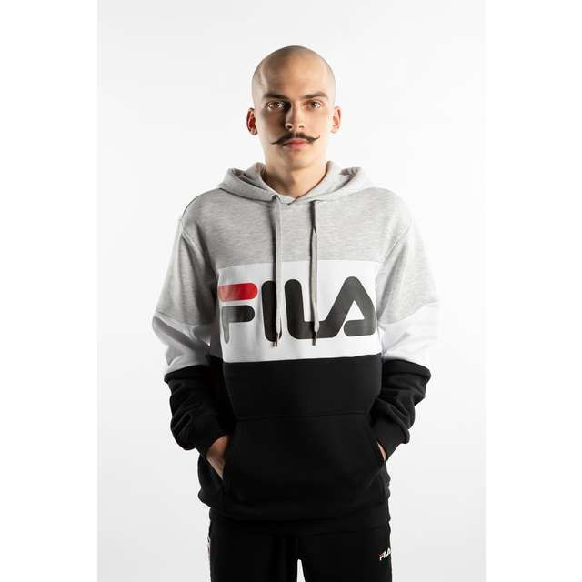 Bluza FILA MEN NIGHT BLOCKED HOODY BLACK IRISRED