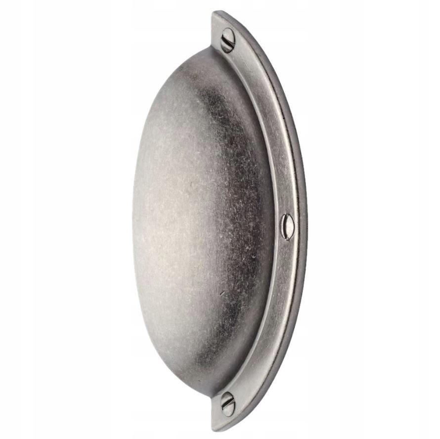 Uchwyt muszelka retro srebrny drzwiczek szafek meb