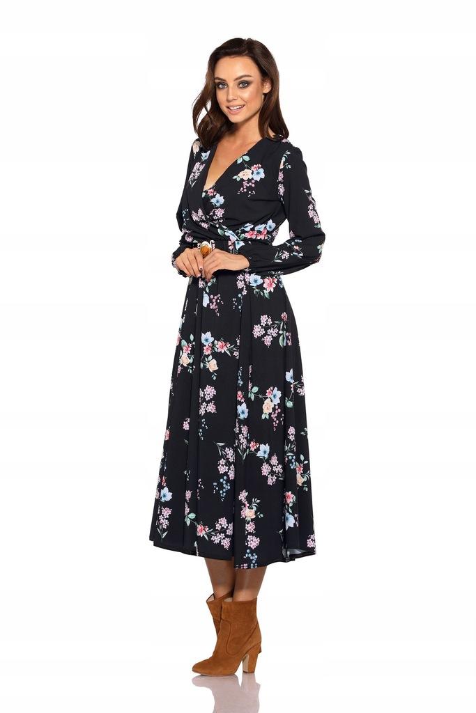 Dluga Sukienka Midi Wzory W Kwiaty Pasek S 7605639134 Oficjalne Archiwum Allegro