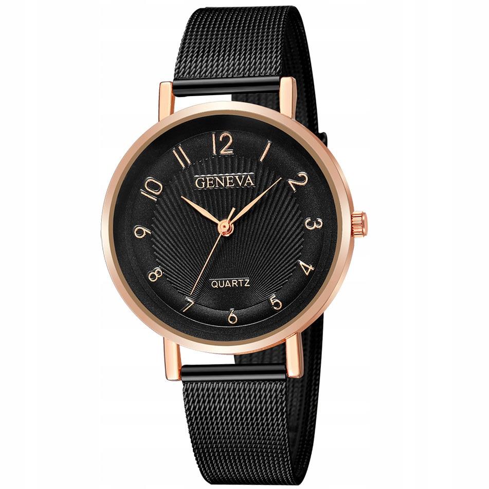 Zegarek DAMSKI GENEVA mesh. czarny różowe złoto