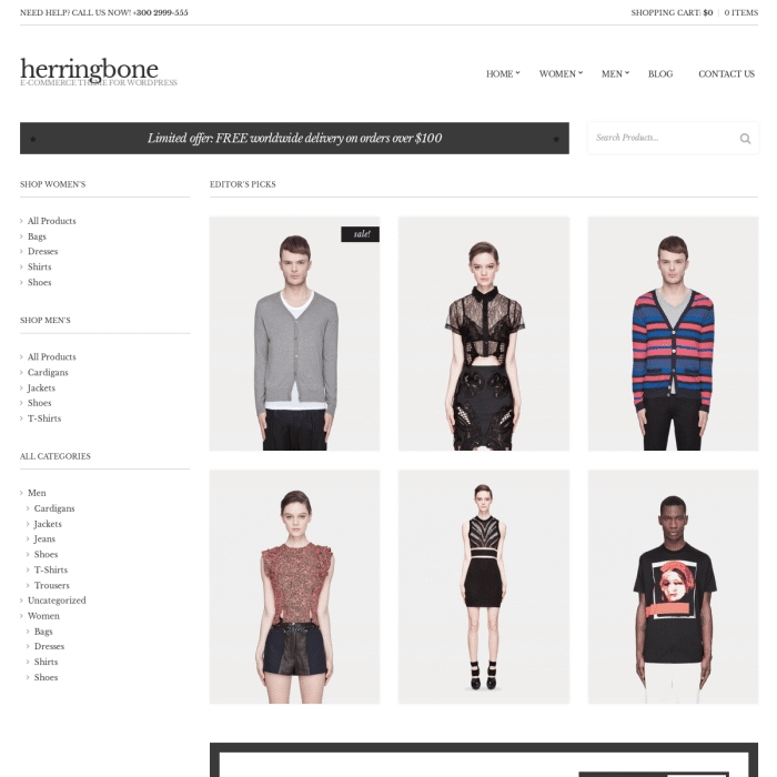 Szablon Herringbone eCommerce WordPress Theme