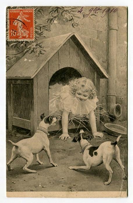A REBOURS - DZIEWCZYNKA W BUDZIE I DWA PIESKI 1910