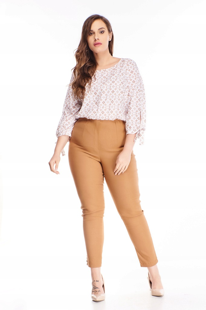 Bawełniane spodnie z wysokim stanem - Brązowy 58