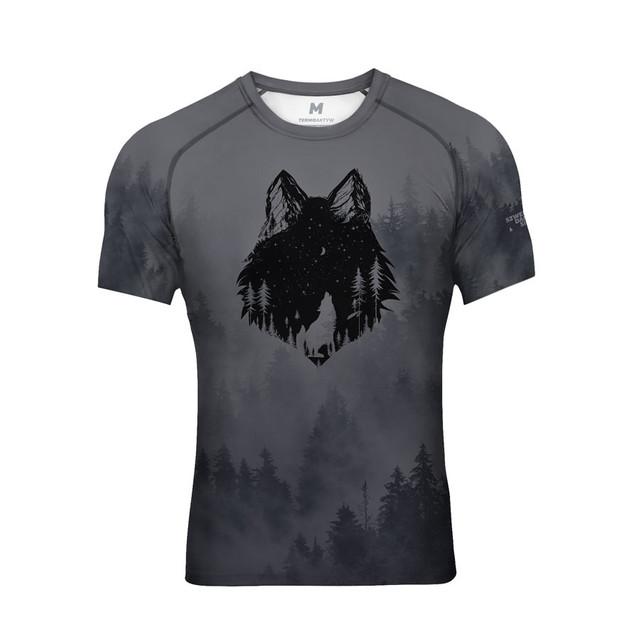 Koszulka wspinaczka oddychająca termo z wilkiem S