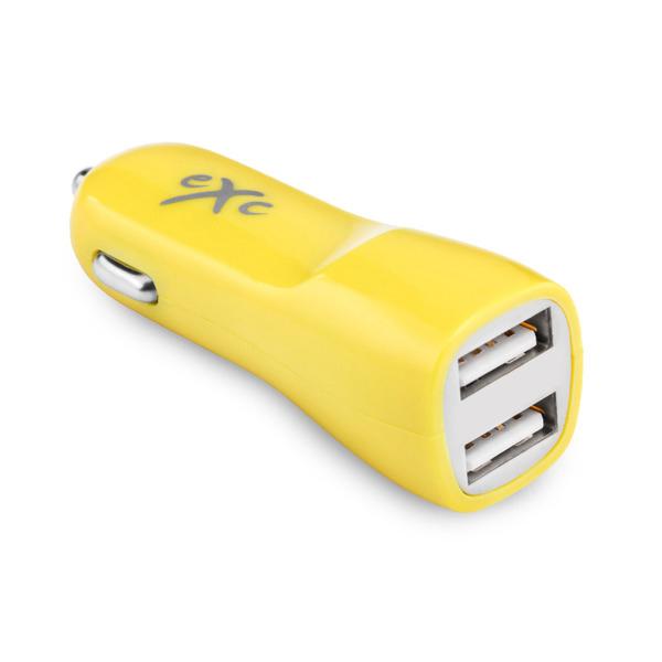 Ładowarka samochodowa EXC 2x USB uniwersalna żółta
