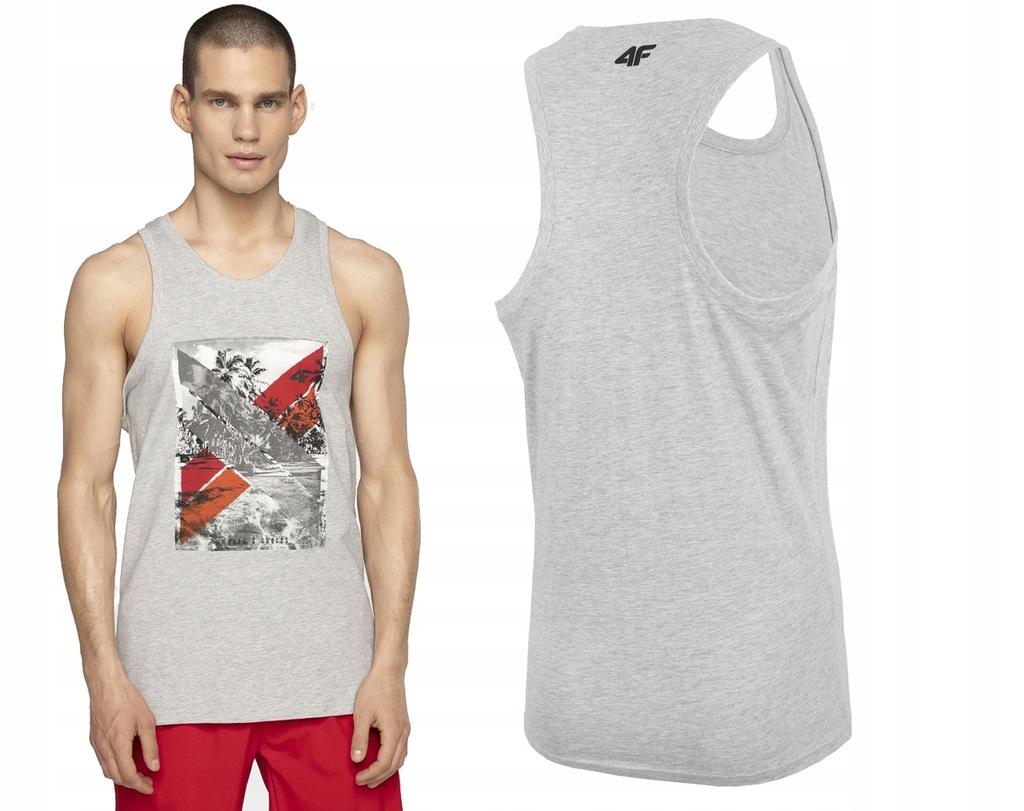 Koszulka t-shirt bez rękawów 4FL19 TSM025 szary XL