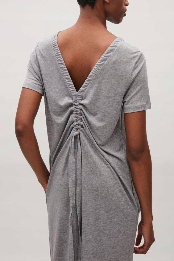 COS sukienka długa maxi szara r. S kieszenie