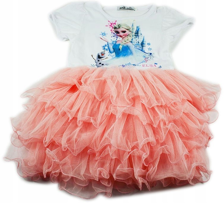 Różowa sukienka Elsa Kraina Lodu 120cm