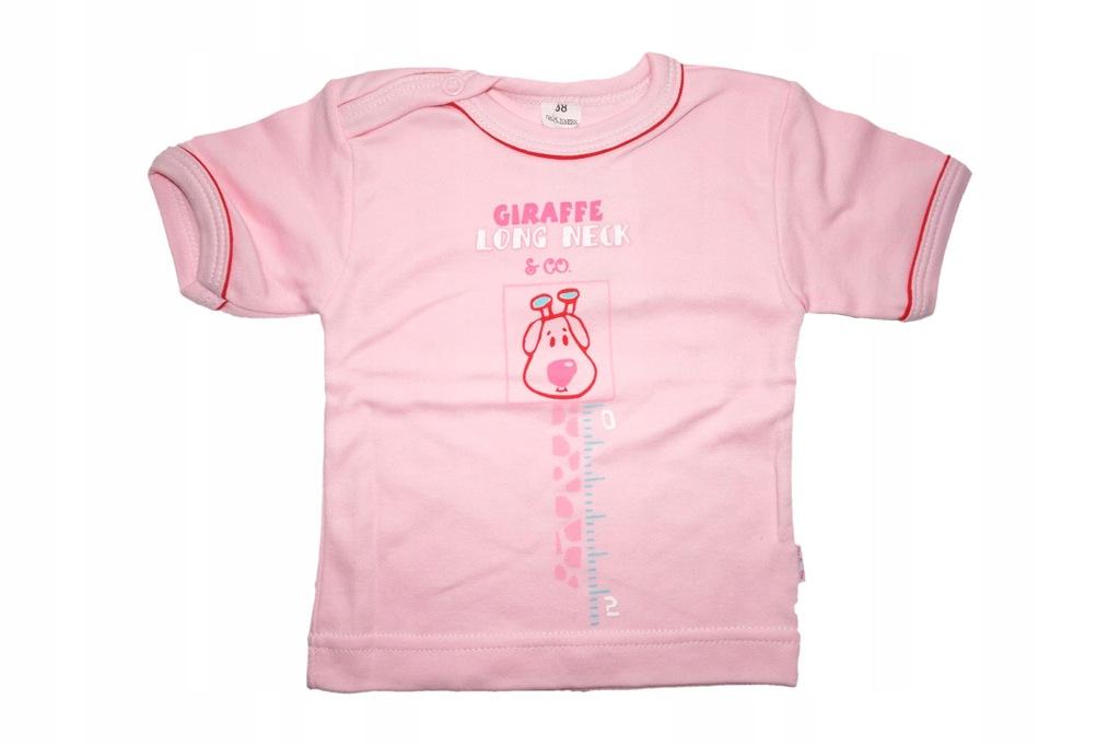 Bluzka bluzeczka shirt koszulka 62 żyrafa róż