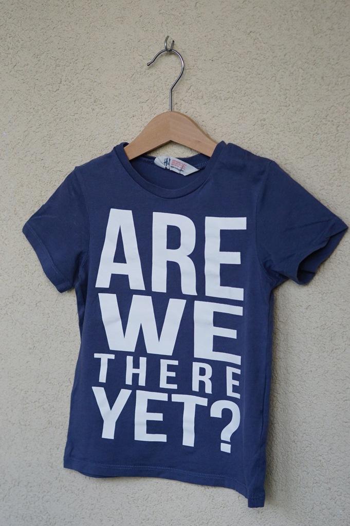 H&M T-shirt duży napis r.98-104