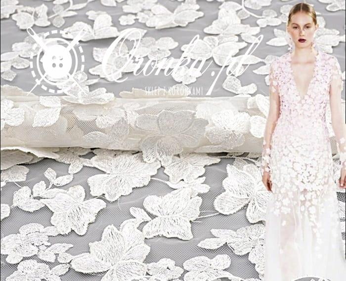 Koronka kwiatuszki biało-kremowe 3D , tkanina, tiu