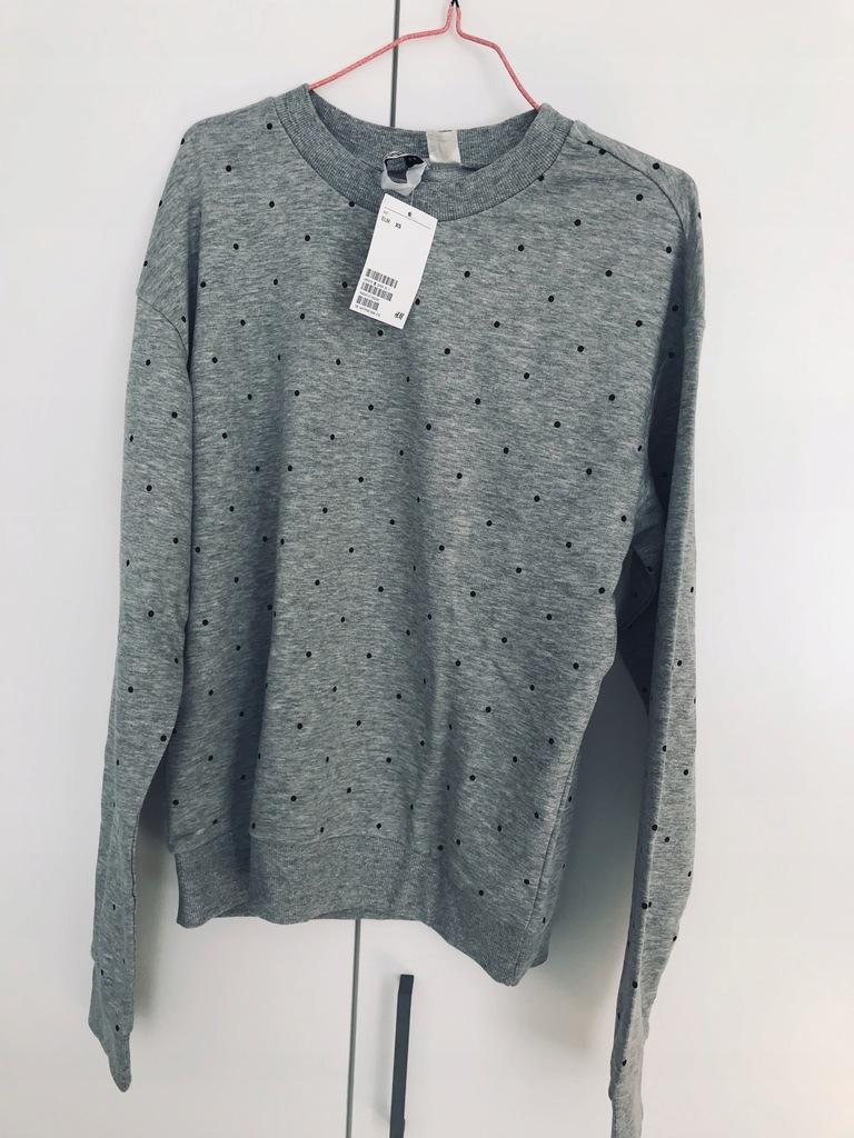 Bluza damska H&M nowa kropki groszki szara 36S