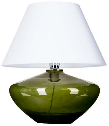 Lampa stołowa szklana zielona z białym abażurem
