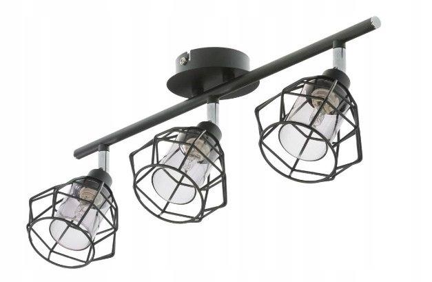 Lampa plafon ROTE 3 czarny metal regulowana siatka
