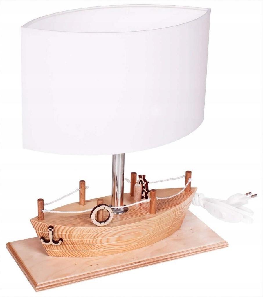 Lampka biurkowa dziecięca statek SHIP drewno
