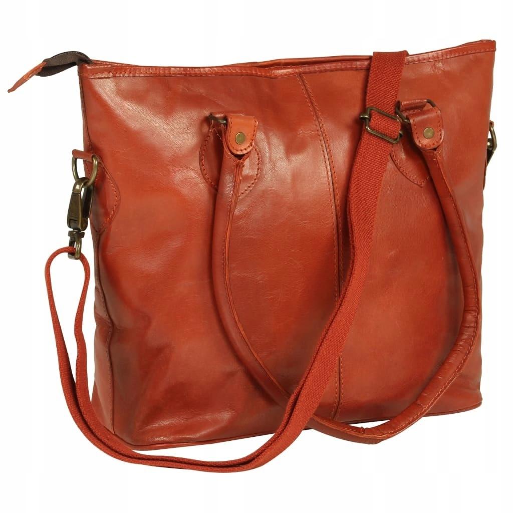 Damska torebka shopperka z prawdziwej skóry, jasno
