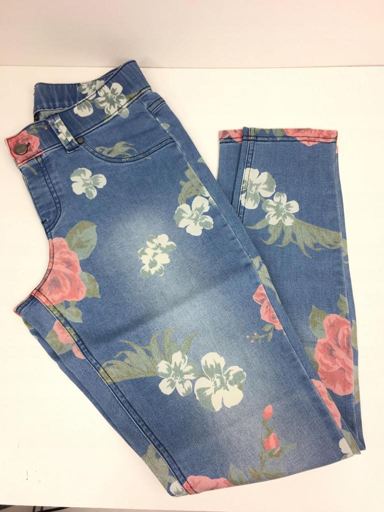 m743 HUE spodnie rurki dżinsowe kwiaty 36