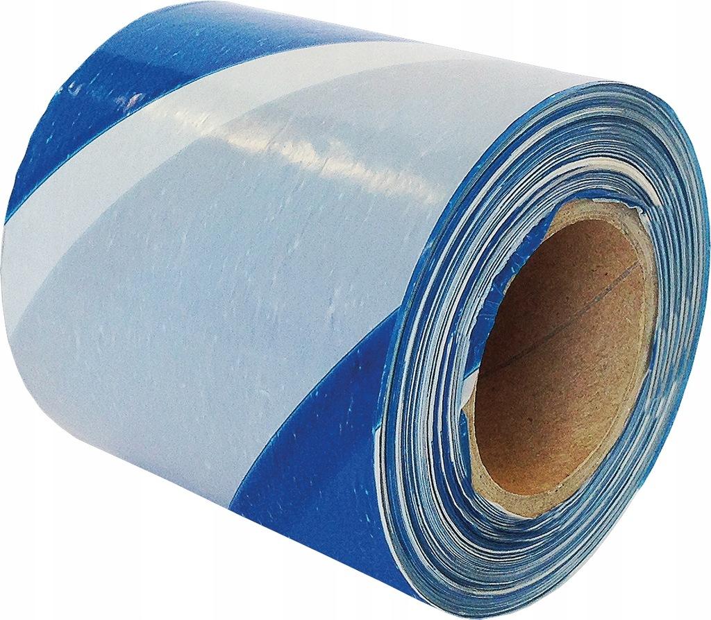 Taśma ostrzegawcza biało-niebieska 70mm 100m