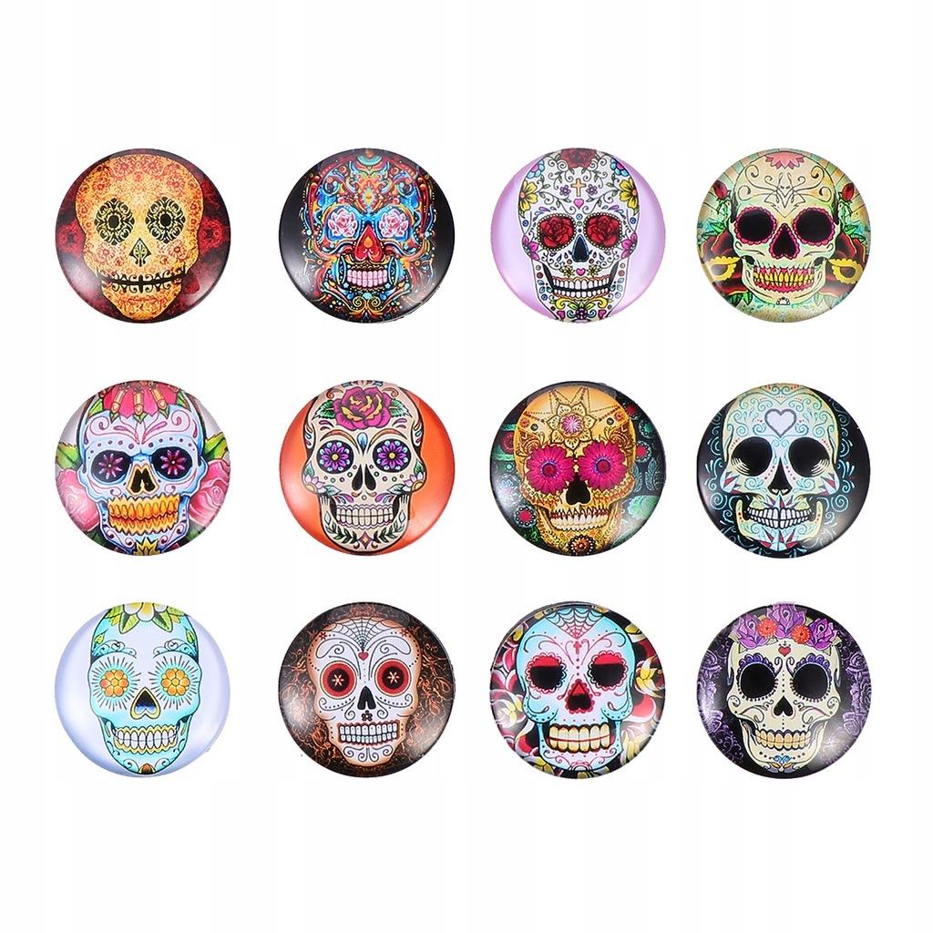 12 sztuk czaszka naklejka magnetyczna moda dekorac