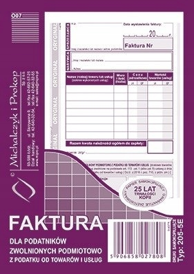 205-5E Faktura dla podatników zwolnionych z VAT A6