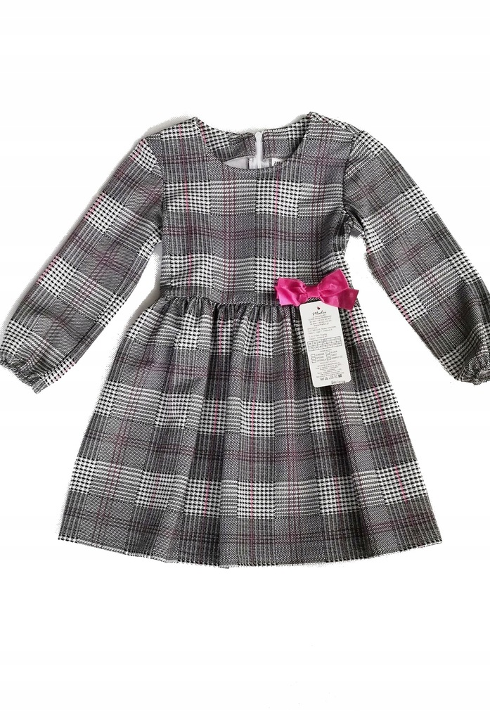 Elegancka sukienka w kratkę 98 produkt polski