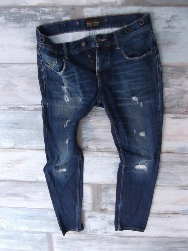ZARA przecierane jeans męskie DZIURY RURKI W32L32