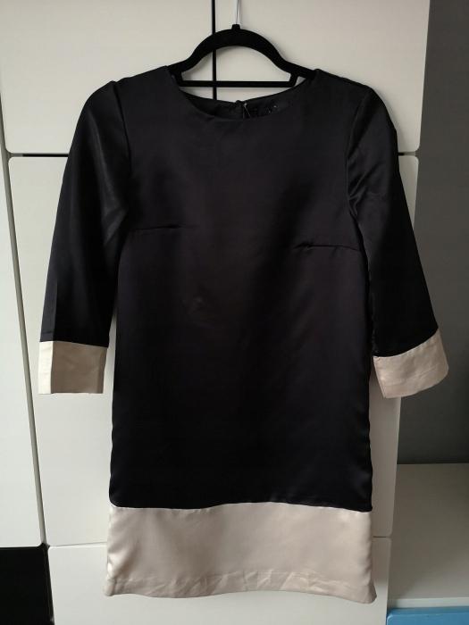 H&M sukienka ecru czarna jak kimono