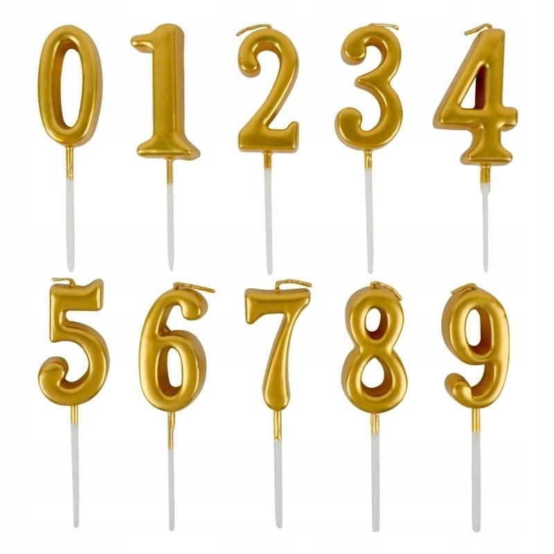 Świeczka złota na pierwsze urodziny roczek cyfra