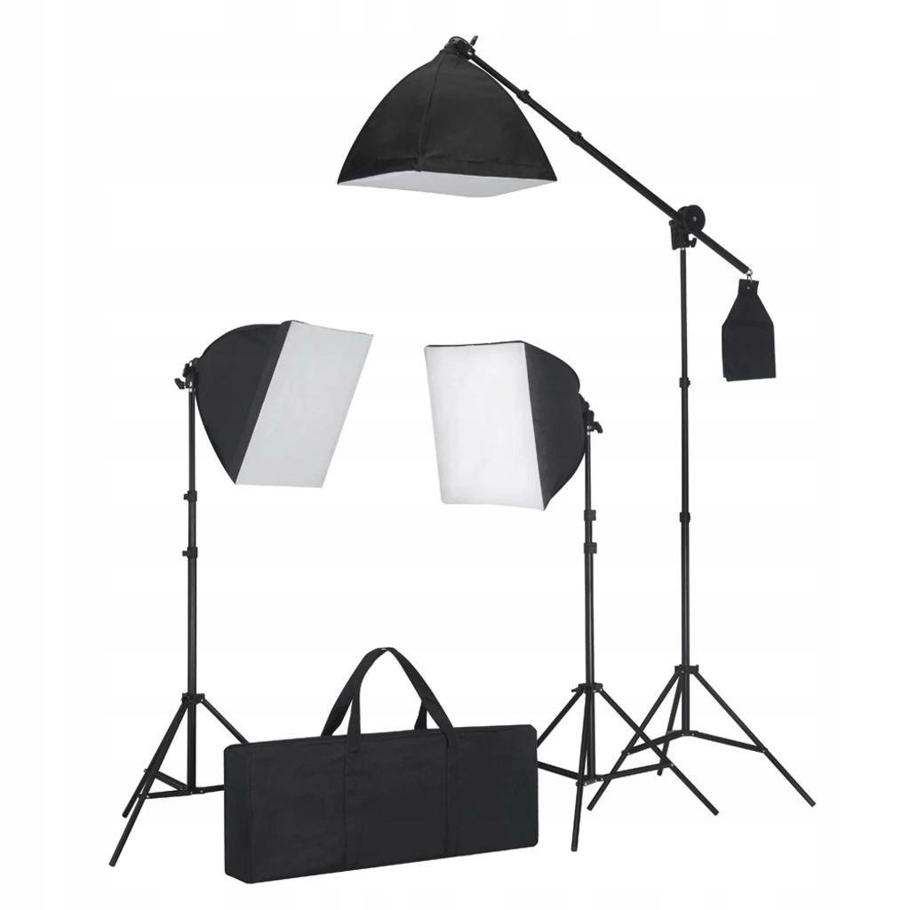 Zestaw oświetleniowy, 3 lampy ze statywem i softbo