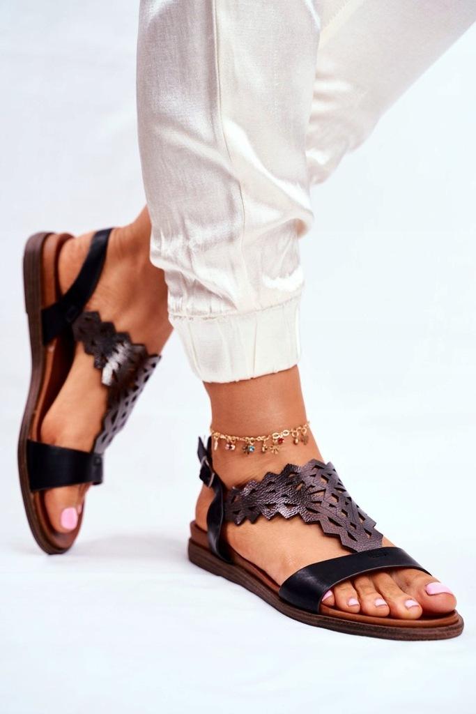 Sandały Damskie Płaskie Sergio Leone Czarne 36