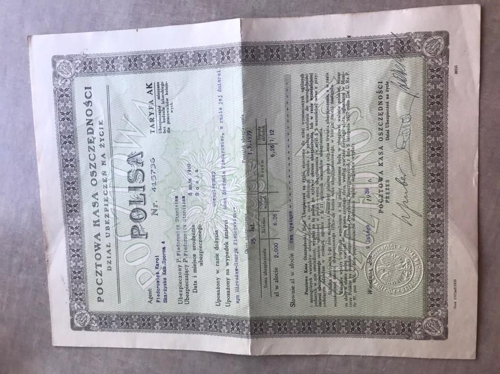 Pocztowa Kasa Oszczędności Polisa 1939