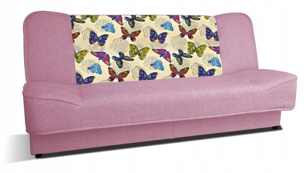Kanapa WERA wersalka sofa łóżko różowa motyl RIBES