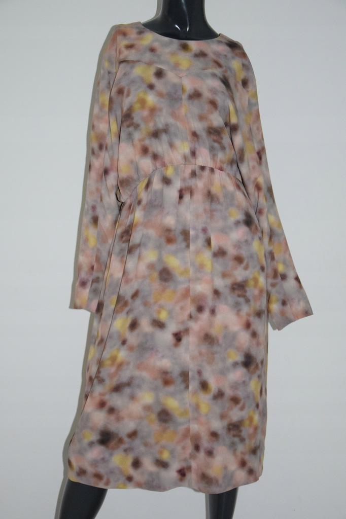 cos beżowa sukienka wiskoza kieszenie print 44/XXL