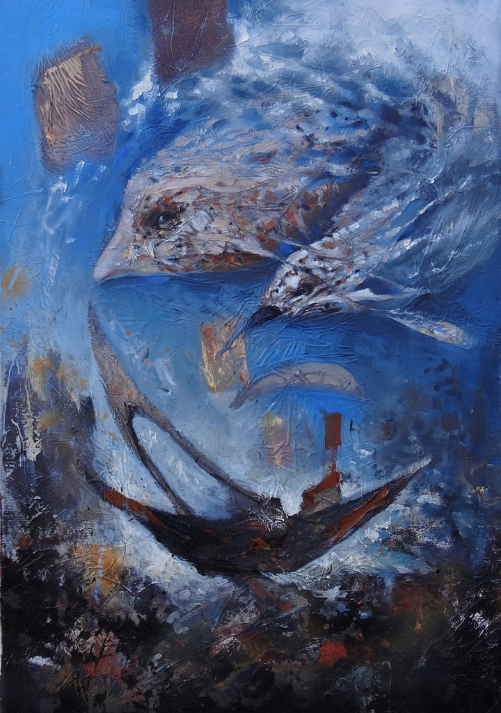 """Zakres błękitu"" obraz olejny DUBEL"