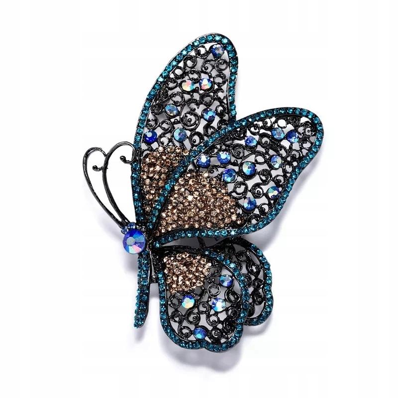 Broszka Motyl owad stras kryształki ażurowa