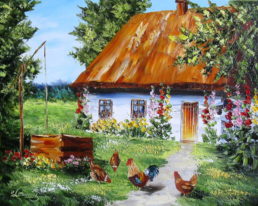 U.Lemańska CHATA I KILKA KUR obraz olejny 40x50