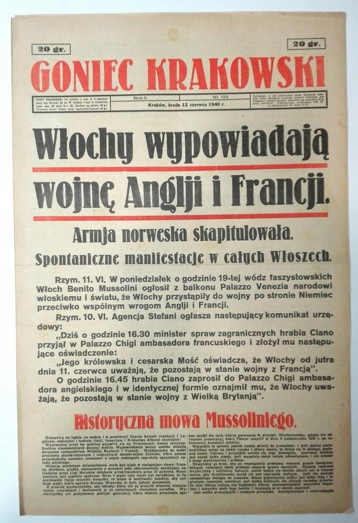 Goniec Krakowski 12 VI 1940 Włochy wypow wojnę SPK