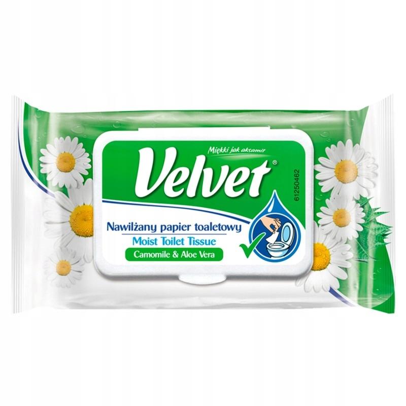 Velvet Nawilżany papier toaletowy rumianek aloes