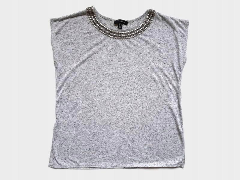 Atmosphere - szara bluzka ozdobny dekolt- r.16/ 44